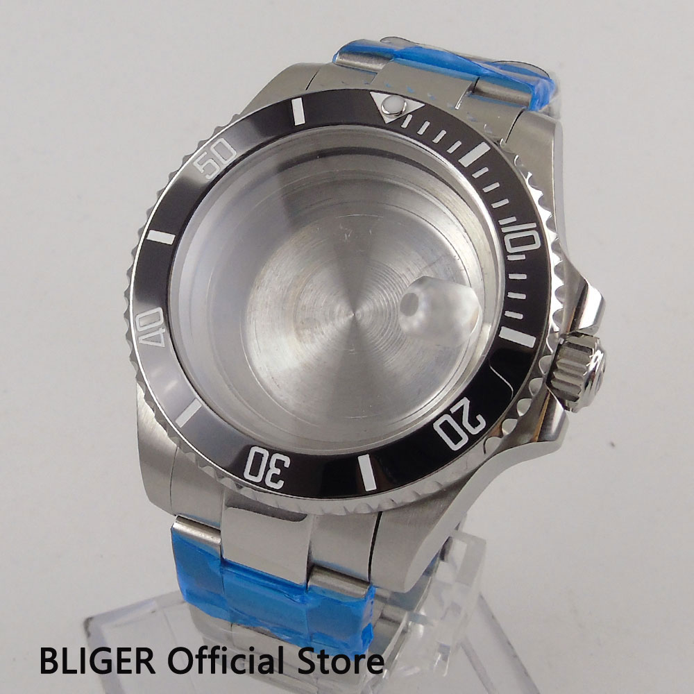 Solid 43mm Black Ceramic Bezel Full Stainless Steel Sapphire Glass Watch Case+Bracelet Fit For ETA 2824 2836 Automatic Movement relojes full stainless steel men s sprot watch black and white face vx42 movement