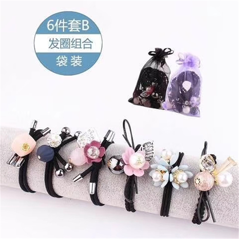 6PCS/SET Novelty Lovely Flowers Elastic Hair Bands For Girl Handmade Bow Headband Scrunchy Kids Hair Accessories Set For Women