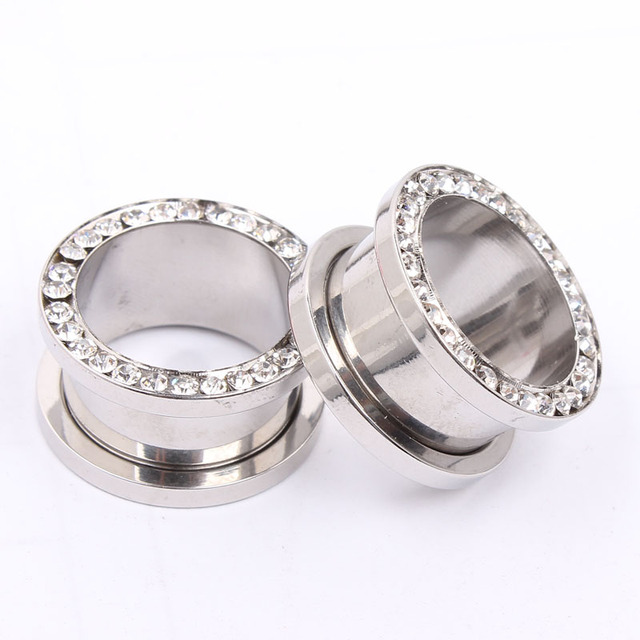 1 Pair Stainless Steel Ear Tunnels with Crystals