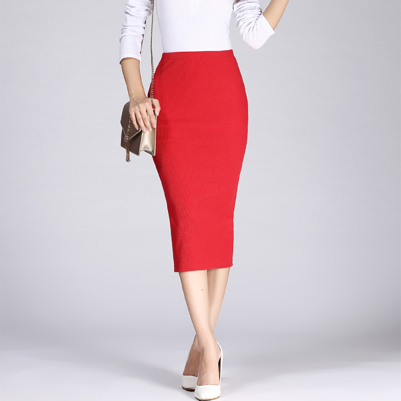 2019 Spring Autumn Long Pencil Skirts Women Sexy Slim Package Hip Maxi Skirt Lady Winter Sexy Chic Wool Rib Knit Midi Skirt Saia