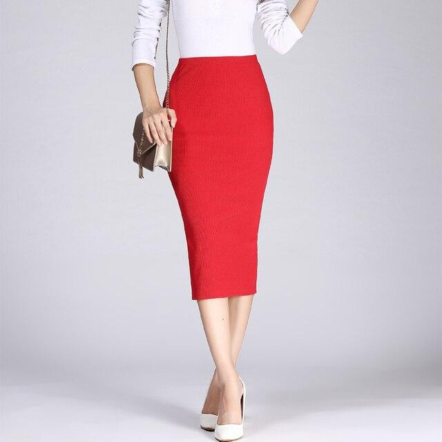 2019 Spring Autumn Long Pencil Skirts Women Sexy Slim Package Hip Maxi Skirt Lady Winter Sexy Chic Wool Rib Knit midi Skirt Saia