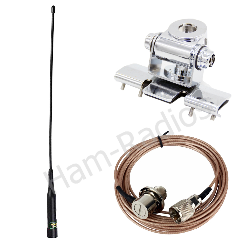 Antenne double bande YiniTone Nagoya NL-R2 + support d'antenne RB-400 + talkie-walkie Tellfone SC316 5 M pour autoradio Mobile QYT BAOJIE 218