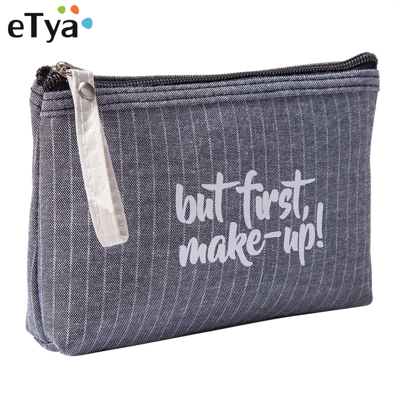ETya Fashion Small Cosmetic Bag Striped Makeup Case Zipper Lip Make Up Bags Women Travel Beauty Wash Organizer Toiletry Bag Hot