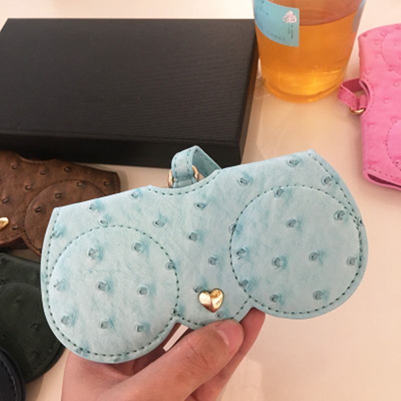 KPAY Unique PU Leather Glasses Bag Multi-function Eyeglasses Case Ostrich Pattern Women Sunglasses Storage Protection Ins