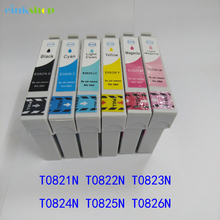 1Set  ink cartridge  for Epson R270/R290/R295/R390/RX590/RX610/RX615 T50 T59 TX650 TX800/TX710W/TX650 T50/T59 T0821N-6 82N free shipping 100ml x 6 color t0821n t0822n t0823n t0824n t0825n t0826n edible ink for epson t50 t59 inkjet printer