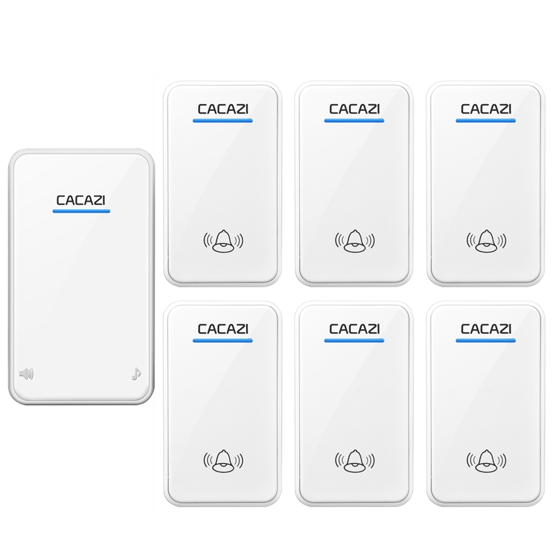 CACAZI AC 100-240V door bell 6 waterproof transmitters+1 receiver wireless doorbll 48 rings door chime UK/US/EU plug ring bell casio g shock gravitymaster ga 1000 1a