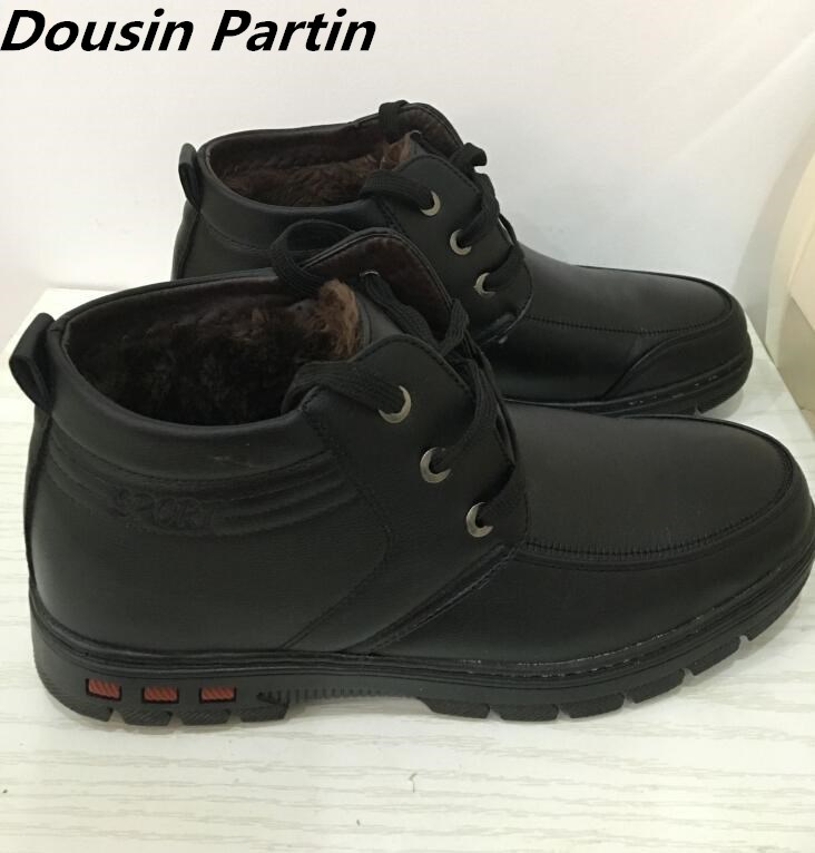 Dousin Partin warm Winted Thick sole Height Increasing men boots fur inside lace up leather men