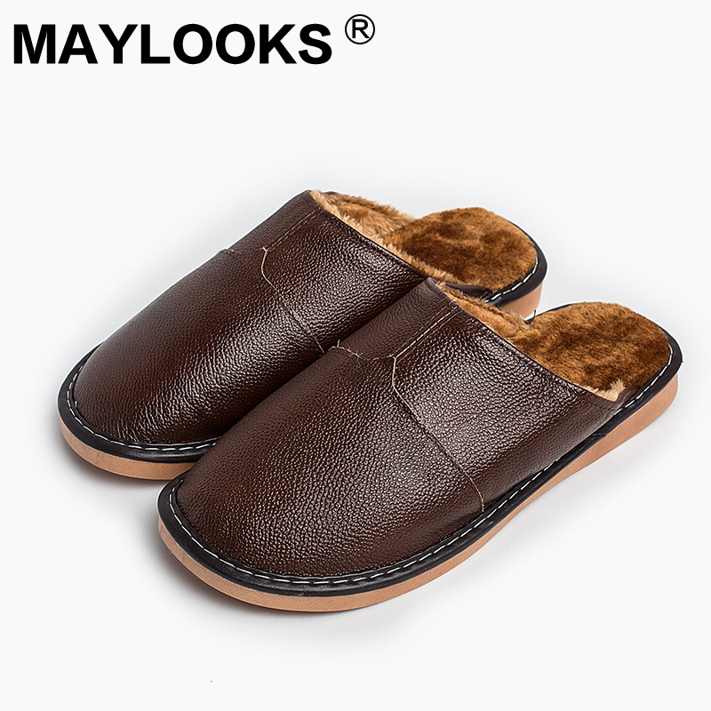 Heren slippers Winter echt leer dik met pluche Home Indoor antislip thermische sloffen 2018 New Hot Sale Maylooks M-8825
