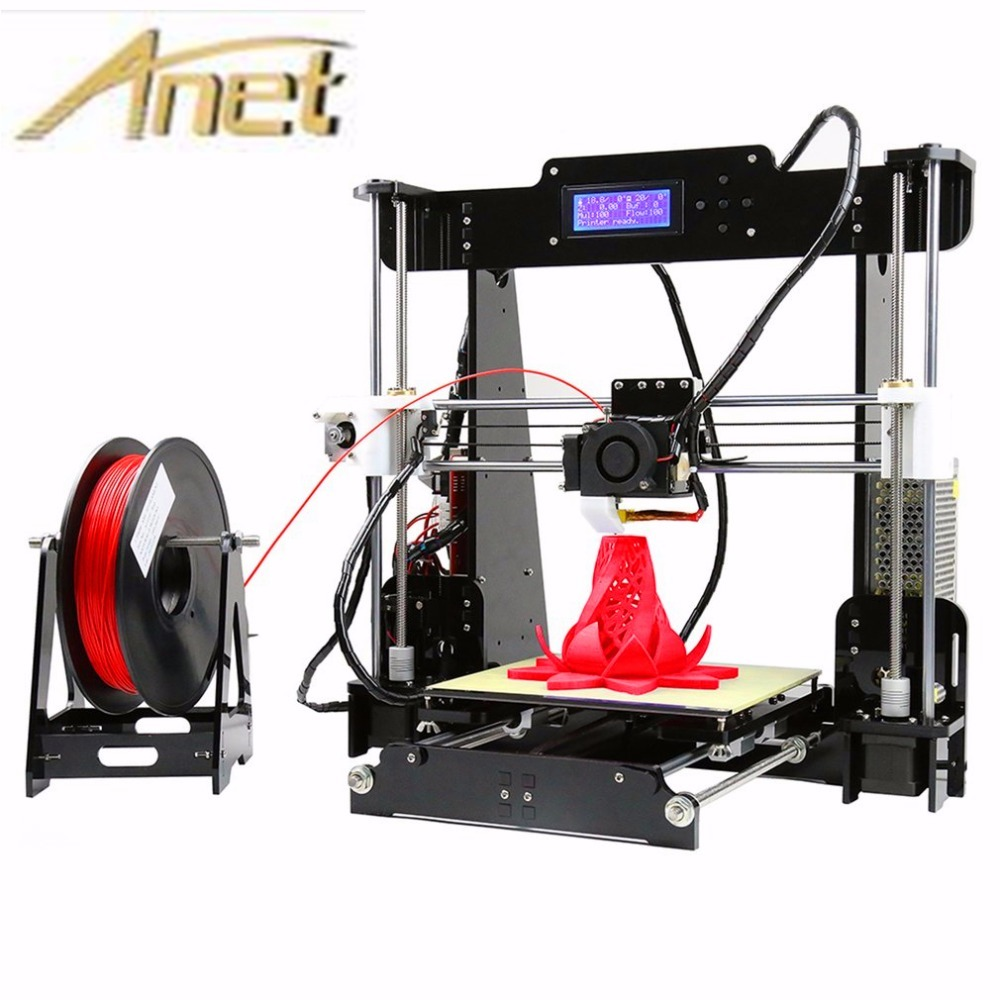 Anet A6 A8 Full Acrylic Frame 3D Color Printing Printer DIY Kit Filament SD Card LCD Screen Display Reprap  I3 +16GB Card anet a2 high precision desktop plus 3d printer lcd screen aluminum alloy frame reprap prusa i3 with 8gb sd card 3d diy printing