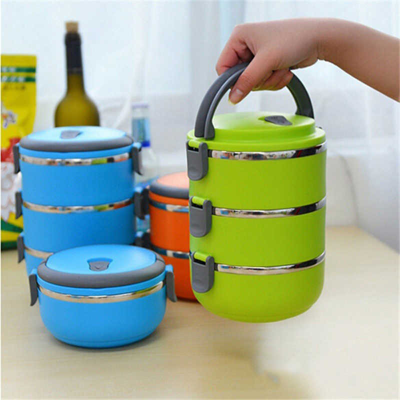 Stainless Steel Storage Box Removable Keep Warm Fresh Food Container Multilayer Handheld Portable Food Holders Kitchen Suppliy11