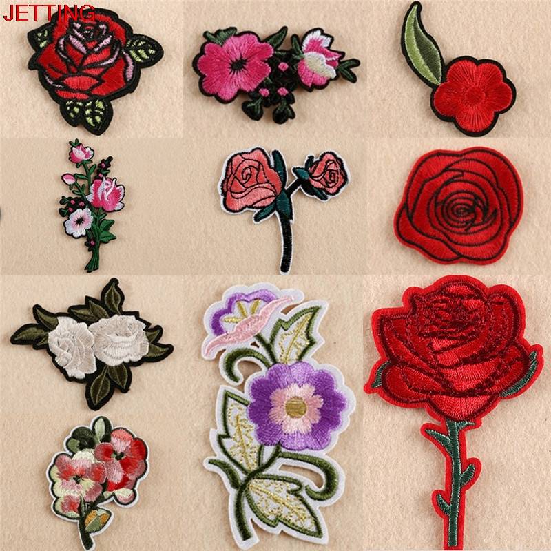 JETTING-Wholesale 11pcs Embroidery Rose Flower Sew Iron On Patch On Badge Bag Jeans Applique Craft