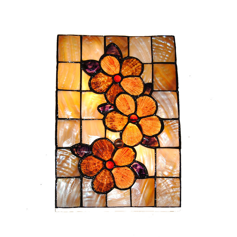 Creative European Cube Stained Glass Wall Sconce 2 Lights Vintage Aisle Living Room Bedroom Indoor Decor Lighting Fixtures WL329
