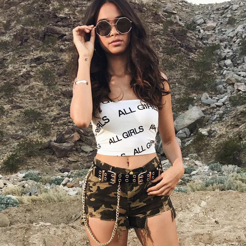 ALL GIRLS Printed Slash Neck Sleeveless Vest Aesthetic Clothing Womens Graphic Street Casual Tank Tops