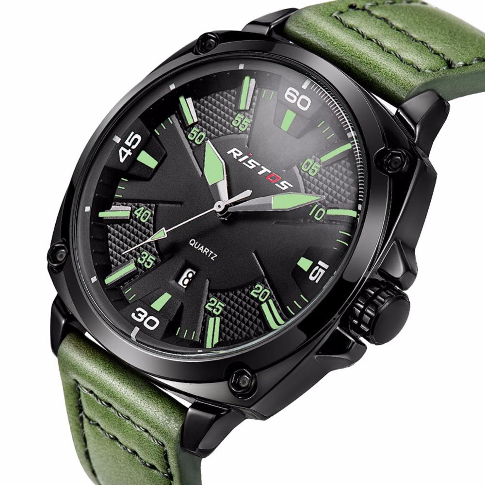 Prix pour Mode Hommes Sport Montre Élégant Vert Armée Militaire Montre-Bracelet Calendrier Complet Lumineux Personnalité Casual Quartz-montre