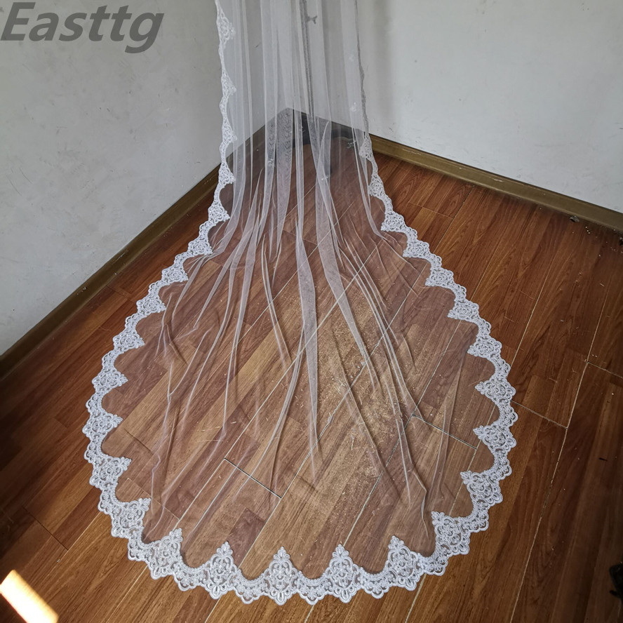 white ivory Real Photos Wedding Accessories Appliques Tulle Long Cathedral Wedding Veil Lace Edge Bridal Veils with Comb
