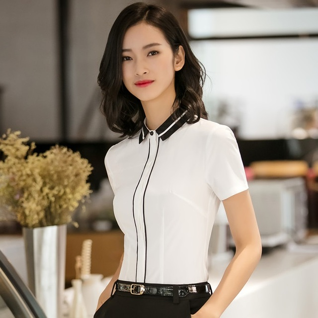 0beb4e7494 New Style 2018 Summer Fashion Women Blouses & Shirts White Short Sleeve  Ladies Office Uniform Blouse and Tops OL Styles