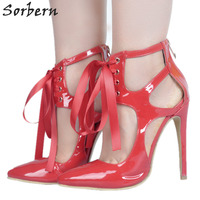 Sorbern Womens Shoes Size 11 Red Pumps Shiny Patent Leather High Heels Pointed Toe Hollow Out Lace Up Party Shoes Stiletto