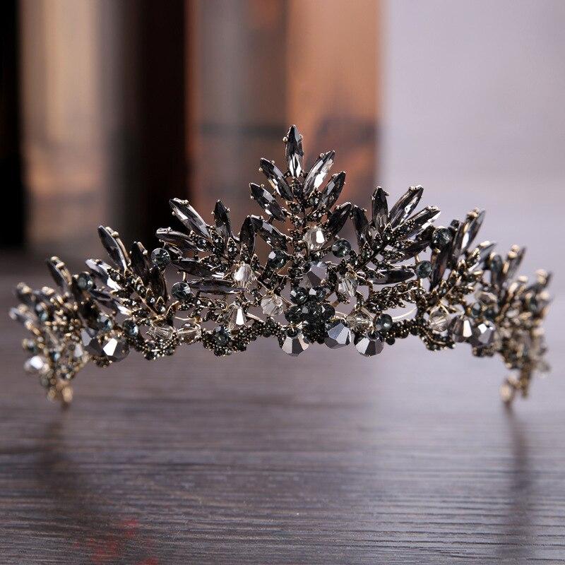 KMVEXO Schwarz Barock Crown Tiaras Königin Vintage Kristall Strass Braut Haar Zubehör Braut Stirnbänder Hochzeit Haar Schmuck