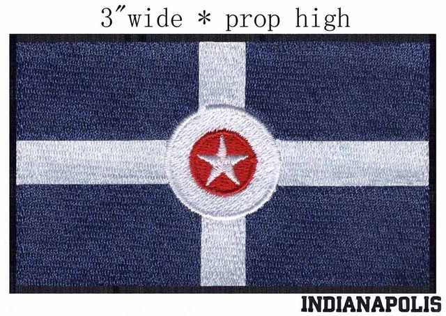 Indianapolis Indiana Usa Flag 30 Wide Embroidery Patch For Fabric