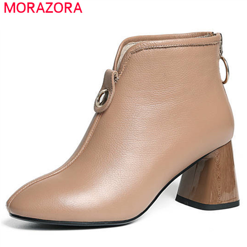 MORAZORA 2020 new fashion ankle boots for women round toe genuine leather female shoes simple zipper