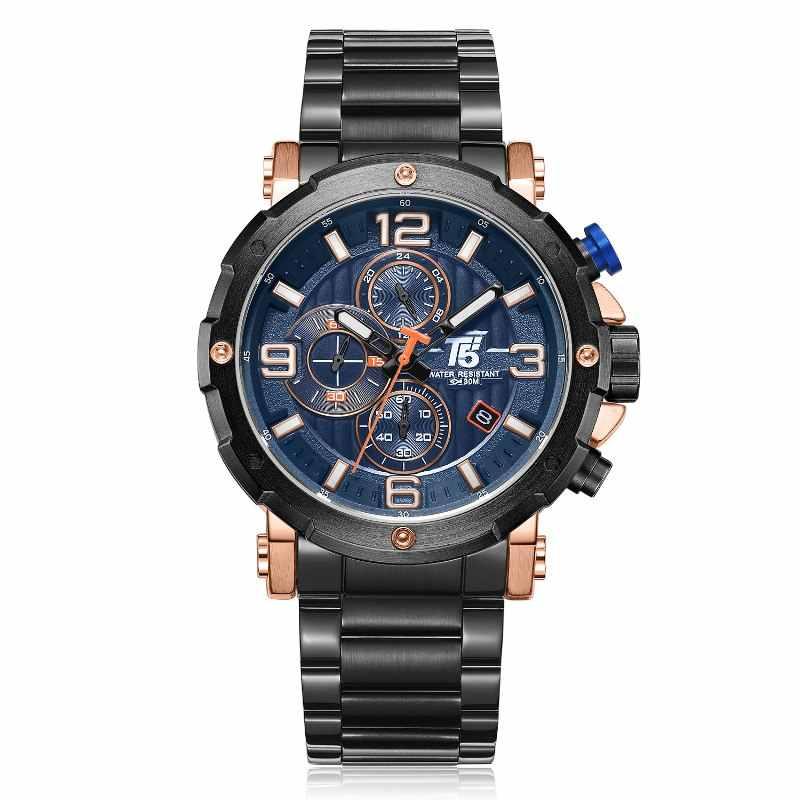 Alta qualidade marca de luxo t5 aço banda homem designer quartzo cronógrafo à prova dwaterproof água relógios relógios esporte
