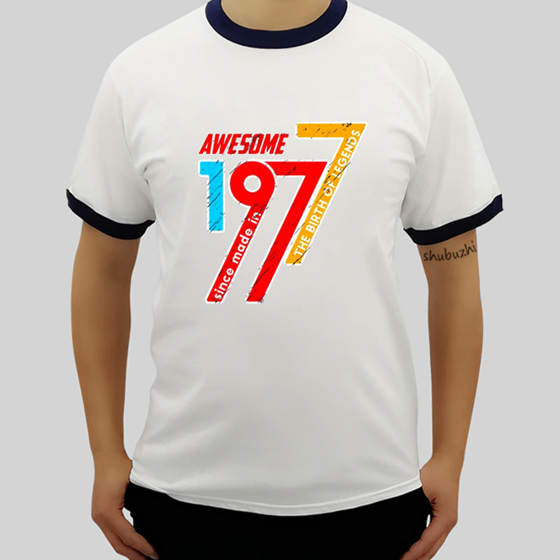 US $12 73 35% OFF summer fashion men raglan T Shirts Guys Legends queens  Vintage Retro Vintage made in 1977 40th Men's Short Sleeve T Shirt Male-in