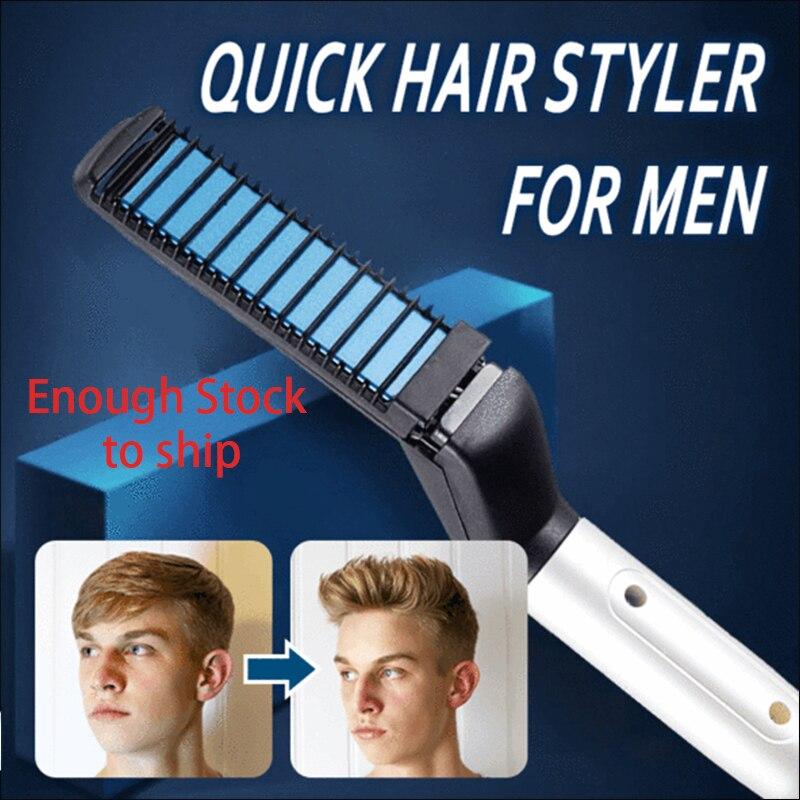 Многофункциональный гребень для волос щипцы для завивки волос Show Кепки Быстрый волос стайлер для Для мужчин электрическое отопление расче...