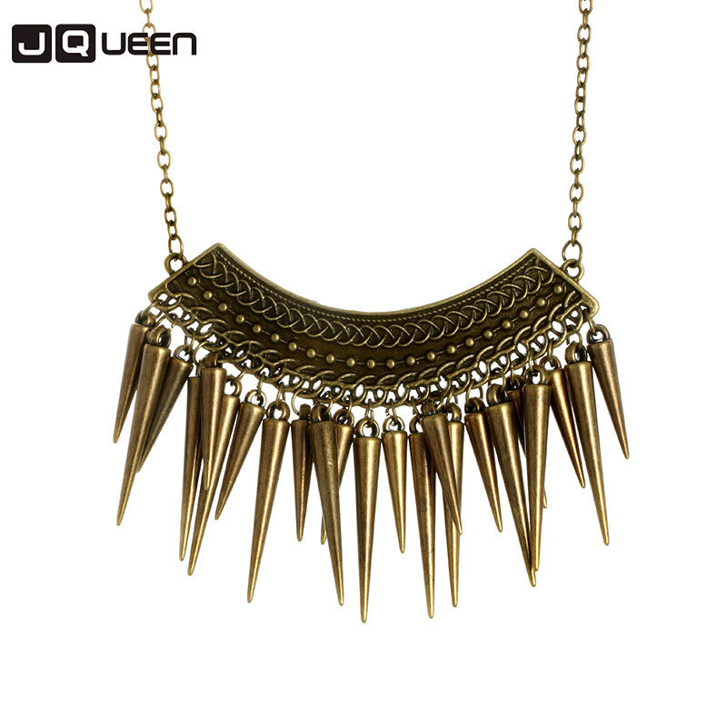 New Alloy Vintage Punk Rivet Long Chain Antique Bronze Color Exaggerated Retro Spike Necklace For Women