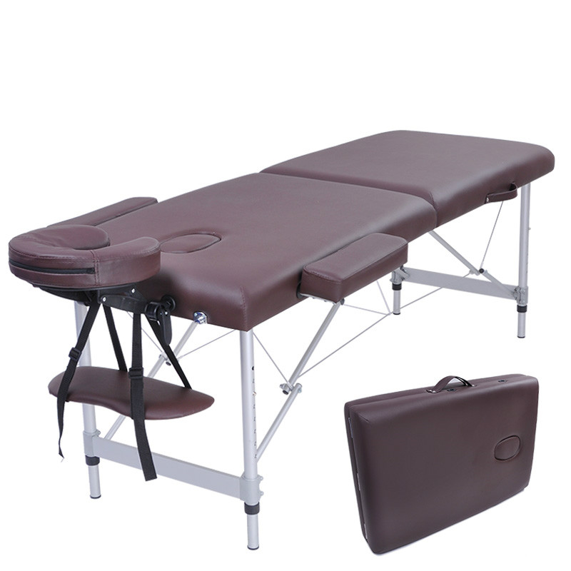 Folding Massage Bed with Aluminum Foot Portable Relaxing Massage Table 8 Gear Height Adjustable 200kg Bearing