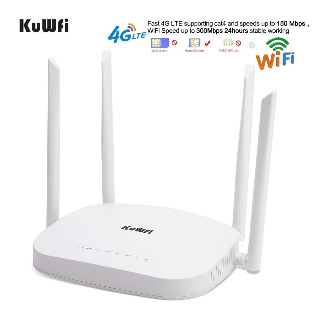 KuWfi 4G CPE LTE Routeur 3G/4G Wifi Routeur 300 Mbps Sans Fil 4 pcs Externe Antennes soutien 4G à LAN Dispositif