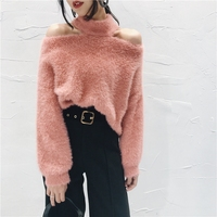 Women Off Shoulder Sweater Jumper Mohair Fur Knitted Tops Pullover Soft Casual Winter Warm
