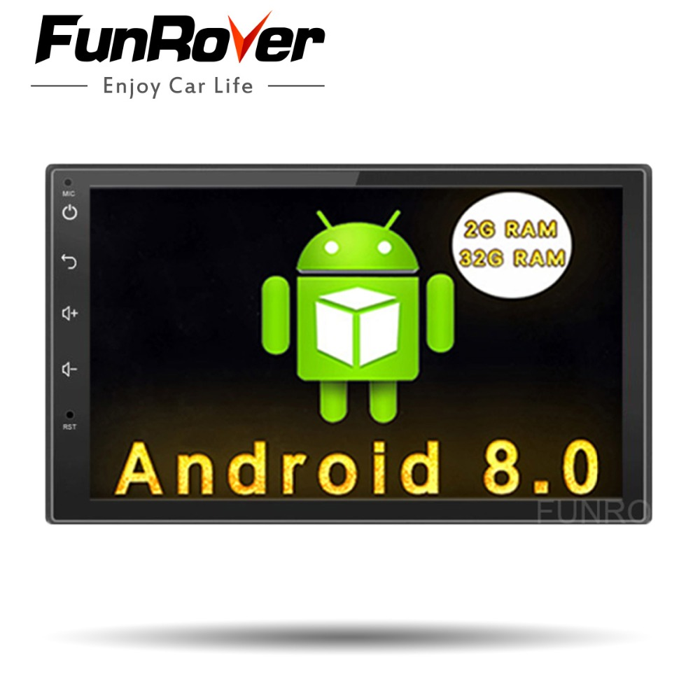 Funrover 7 2g 32g Auto Radio 2 din Android 8.0 Car Dvd Player Universal headunit multimedia gps Navigation Video Wifi Stereo FM
