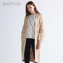 Bahtlee outono inverno manga longa mohair cardigan casaco feminino tricô estilo solto camisola jumper bolso grosso manter quente