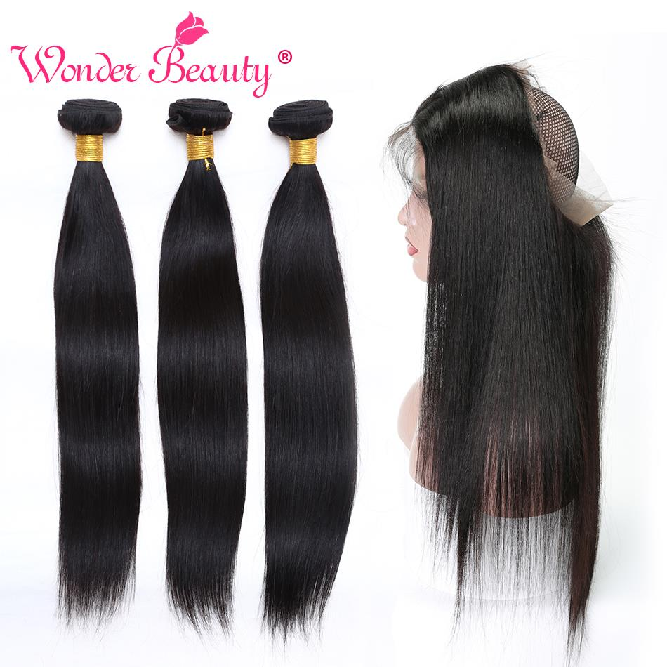 Wonder Beauty Straight Hair non remy bundles with 360 frontal Human Hair Peruvian hair pieces 2
