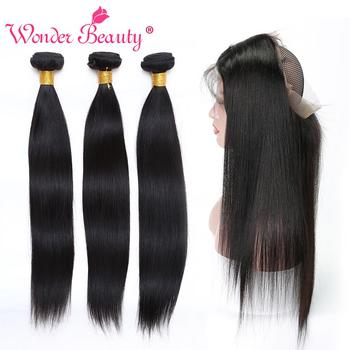 Wonder Beauty Straight Hair non remy bundles with 360 frontal Human Hair Peruvian hair pieces 2&3&4 bundles with lace frontal image