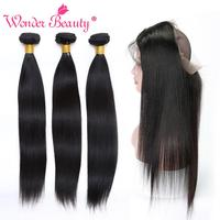 Wonder Beauty Straight Hair non remy bundles with 360 frontal Human Hair Peruvian hair pieces 2&3&4 bundles with lace frontal