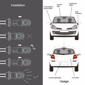 Image 3 - Safego 10x led t10 w5w led 전구 9smd 5050 w5w t10 led 흰색 파란색 자동 자동차 웨지 클리어런스 조명 w5w 194 168 led 인테리어 램프