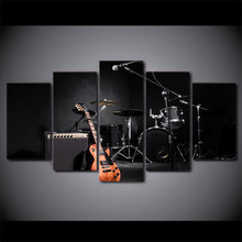 Canvas Wall Art Pictures Framework Home Decoration Poster 5 Pieces Music Guitar Drum Instruments HD Printed Living Room Painting(China)