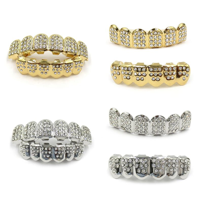 New Fshion Hip Hop Gold Silver Colour Iced Out CZ Teeth Grillz Top Bottom  Men Women Jewelry 1