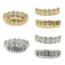 Fshion grelha de dentes, joia de ouro e prata para homens e mulheres