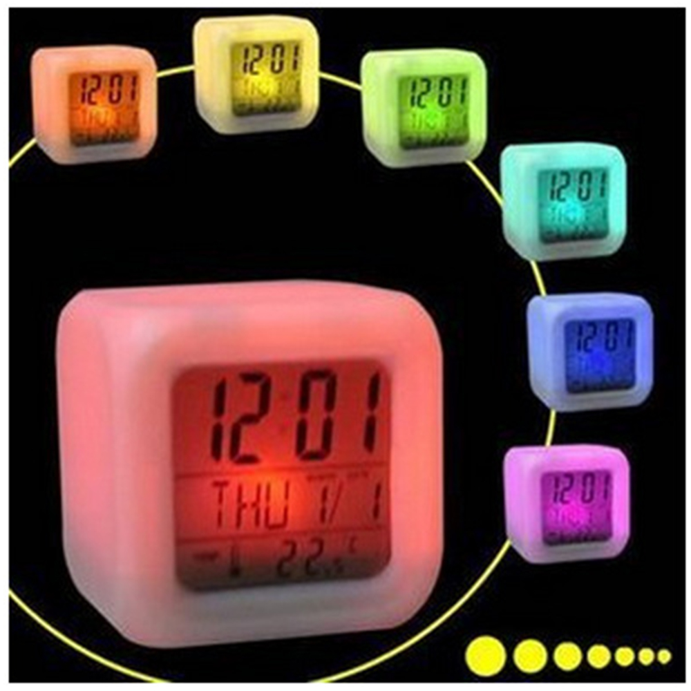 Free Shipping LED Alarm Colock 7 Colors Changing Digital Desk Gadget Digital Alarm Thermometer Night Glowing Cube Led Clock Home