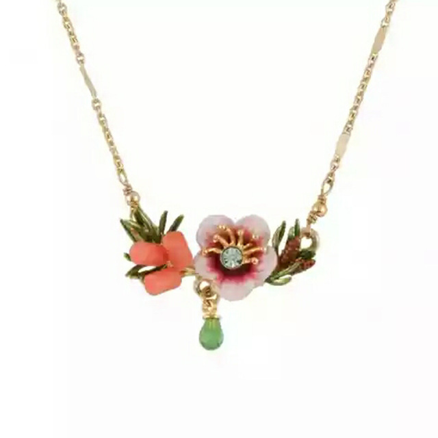 France New Arrivals Plating Gold Concise Fund Enamel Glaze Cotton Rose Flower Crystal Drip Necklace Clavicle Chain Woman