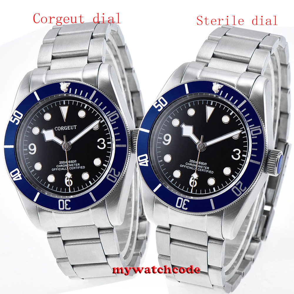 лучшая цена 41mm corgeut black dial blue bezel Sapphire crystal miyota automatic mens Watch