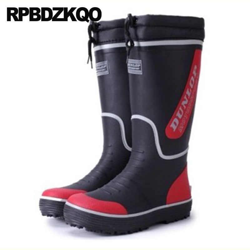 3fc281027a8 Cheap Rubber Fishing Boots Men Non Slip Rainboots Plus Size Pvc Tall Winter  On Casual Mid Calf Rain Waterproof Faux Fur Shoes