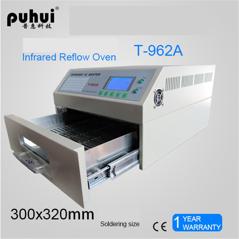 PUHUI T-962A Infrared IC Heater Reflow Oven BGA SMD SMT Rework Sation Reflow Wave Oven 300*320mm 1500W