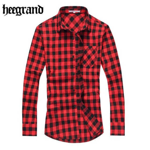 Hee grand 2017 nuevos hombres de la manera camisa a cuadros de manga larga camisas a cuadros camisas casuales clásicas mcl1555