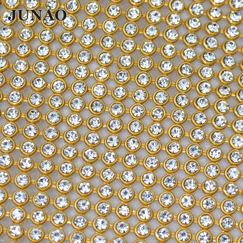 Ev ve Bahçe'ten Yapay Elmas'de 45*120 cm Altın Alüminyum Hasır Metal Trim Cam Rhinestones Kumaş Levha Strass Kristal Bant Gelin Aplike Elbise için çanta El Sanatları'da  Grup 1