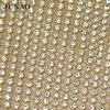 3mm Gold Color Aluminum Mesh Clear Rhinestone Beads Trim Crystal Bridal Applique Banding For Wedding Clothes