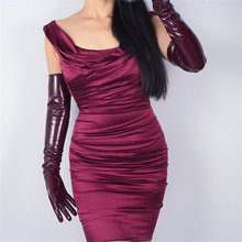 60cm Patent Leather Long Gloves Extra Section PU Emulation Bright Mirror Wine Red Dark Female WPU44-60