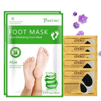 6Pair/Set Foot Mask for Legs Peeling Dead Skin Exfoliating Feet Mask Collagen Eye Mask Crystal Eye Patches Anti Aging Wrinkle 1